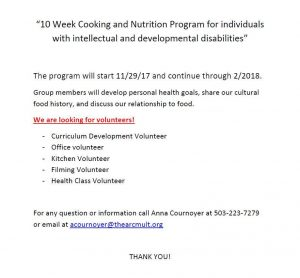 Volunteer for the Cooking and Nutrition Program!